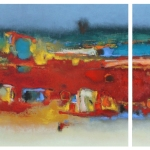 Suburbia Diptych - 45 x70 / 45 x 35 cm - Oil on canvas
