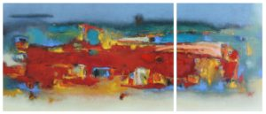 Suburbia Diptych – 45 x 70 45 x 35 cm – Oil on canvas